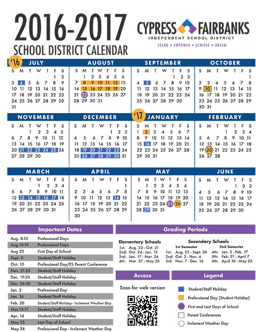 Cy Fair 2017 Calendar | Blank Calendar Design 2017