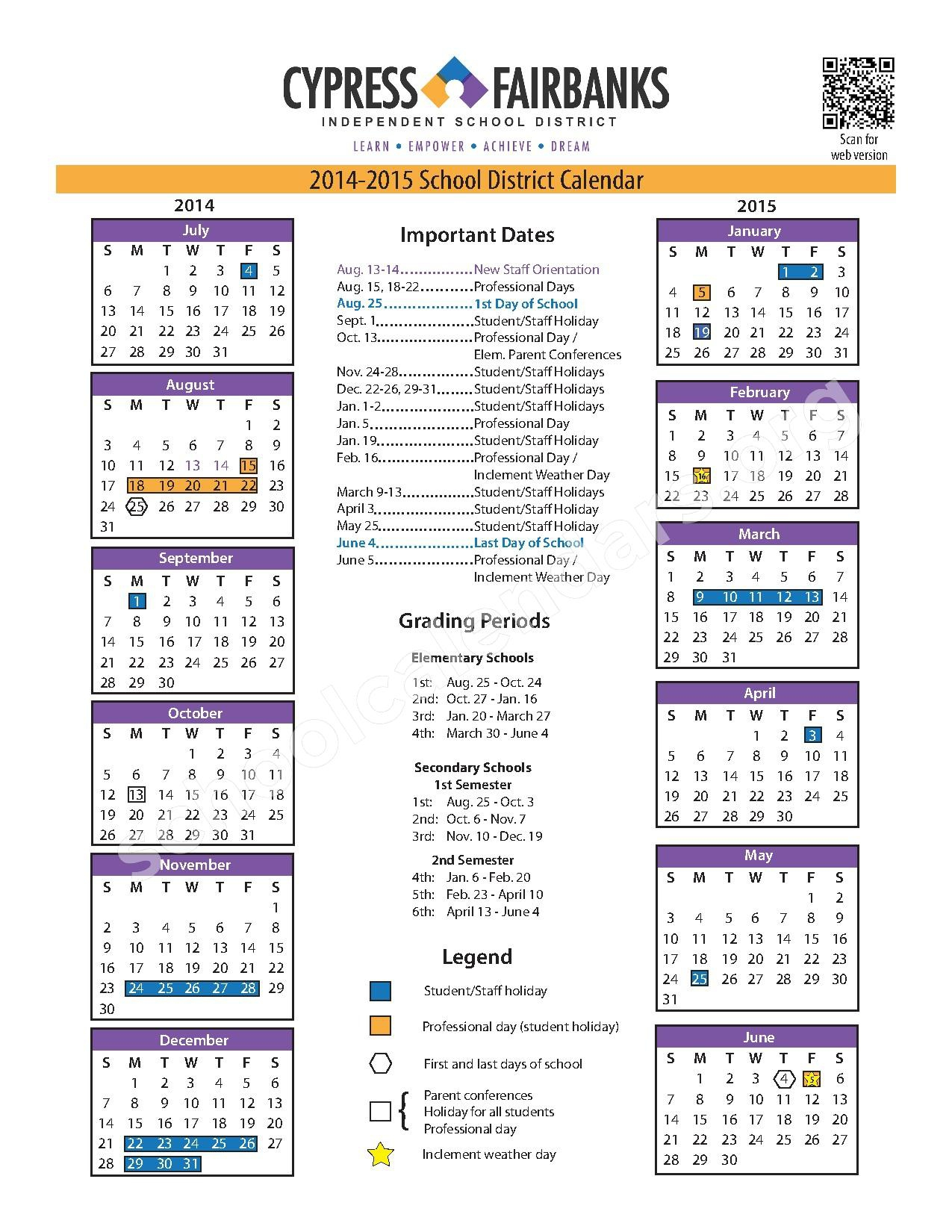 Cy Fair School Calendar 2017 | Free Calendar 2017 2018