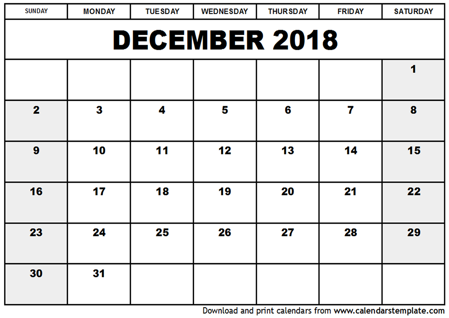 downloadable calendar december 2018 Madrat.co