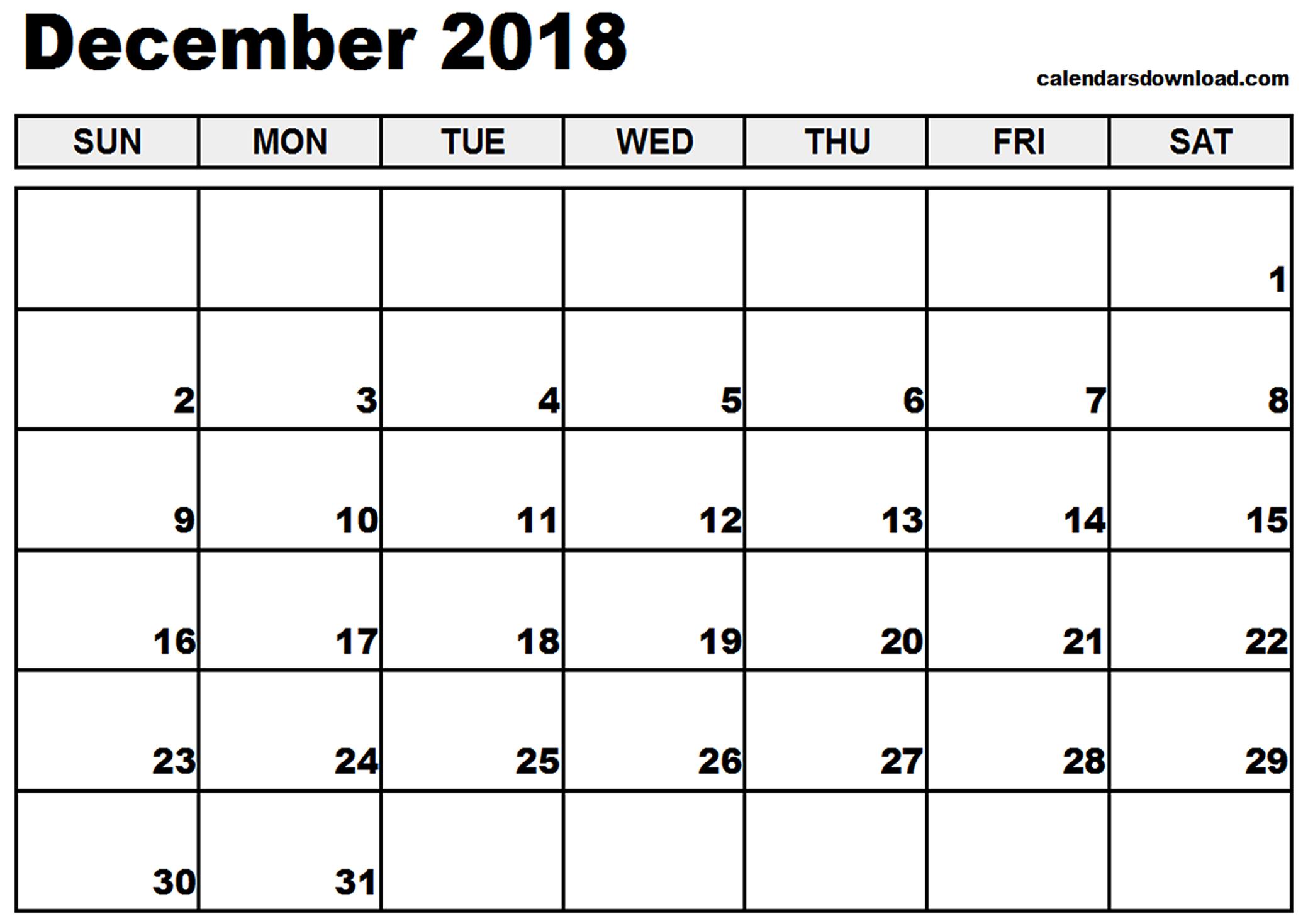 December 2018 Printable Calendar | 2018 calendar printable