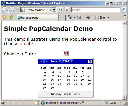 Displaying Calender Control In ASP.MVC Without jQuery And