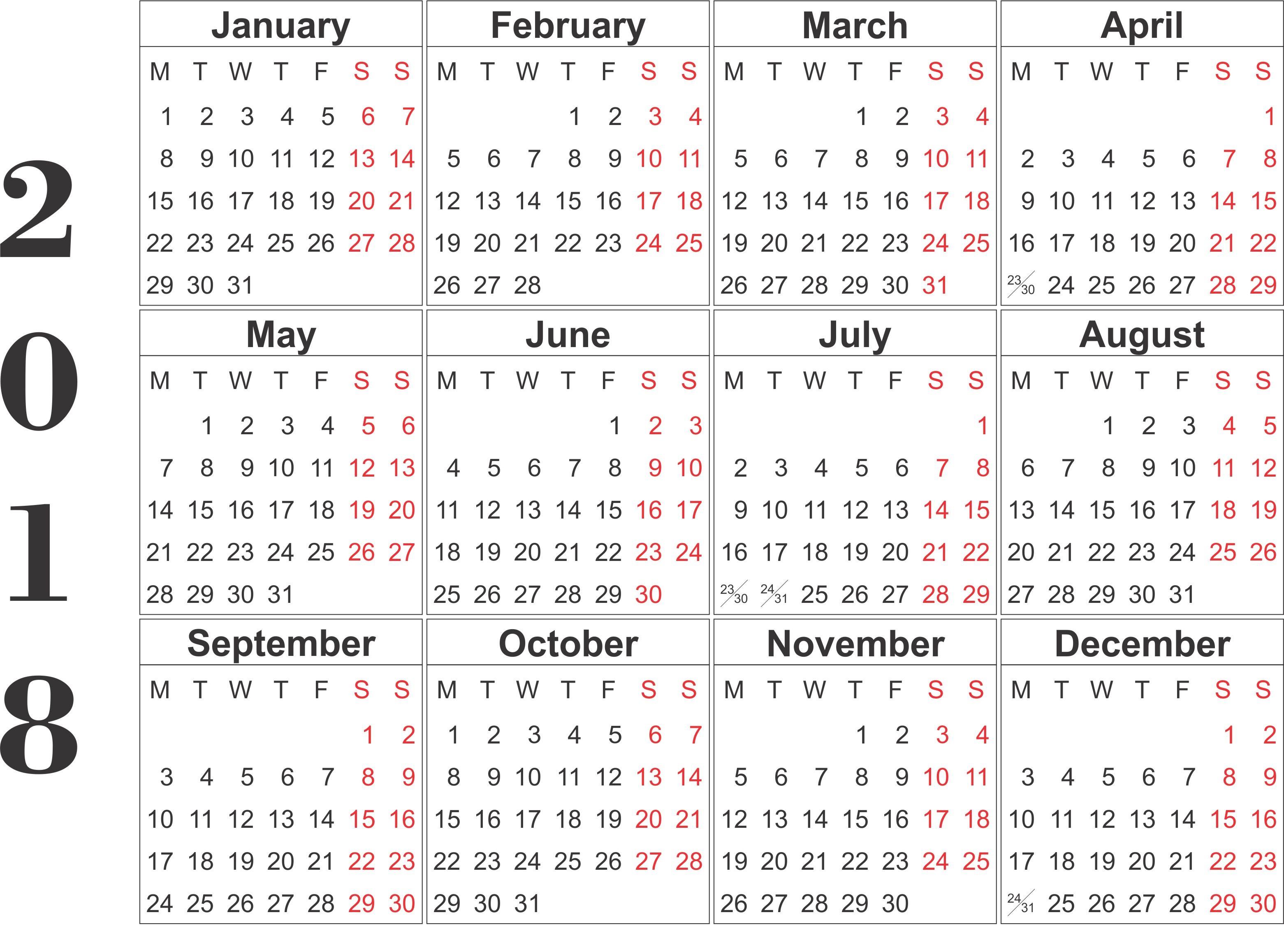 2018 printable calendar template Madrat.co