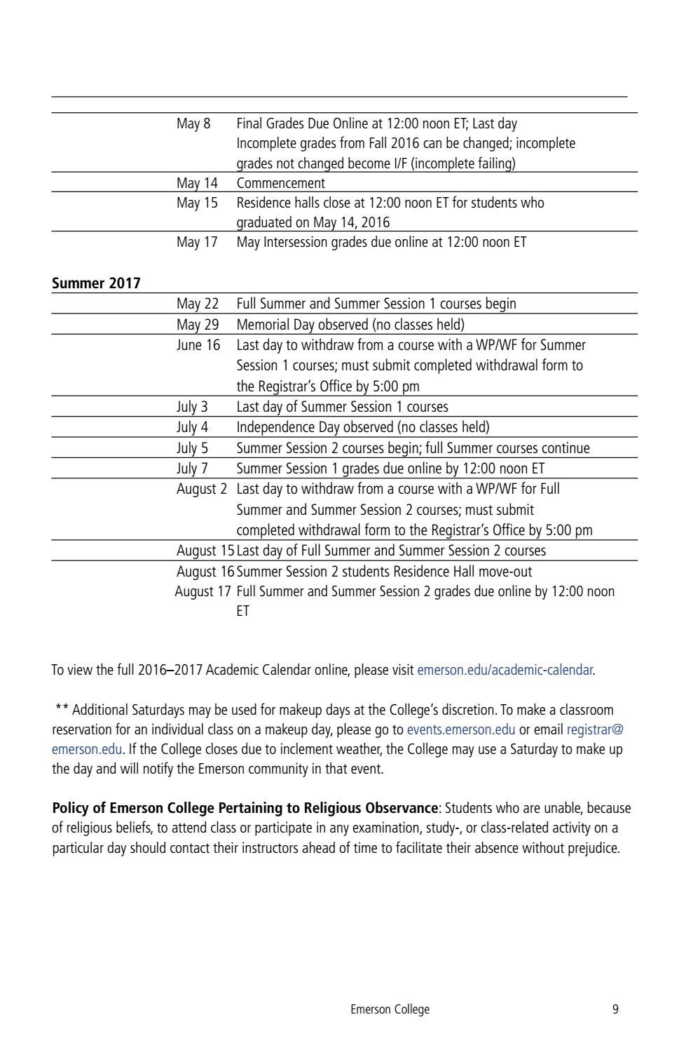 Emerson Academic Calendar   Free Calendar Template