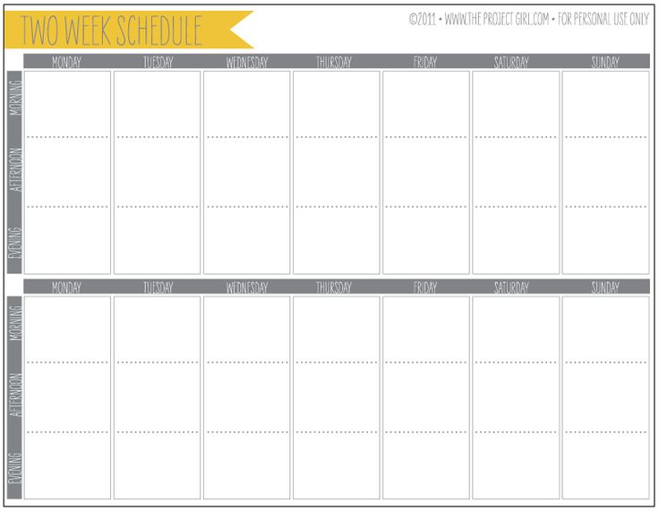 Free Two Week Calendar Template | Calendar Template 2017