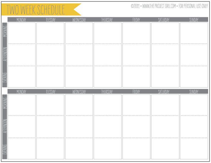 Free Two Week Calendar Template | Calendar Template 2017