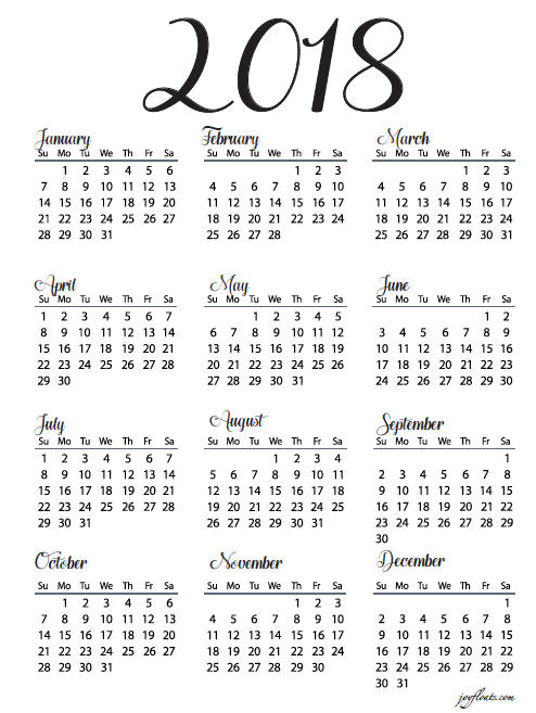 Print 2018 No Frills Full Year Calendar Duplex or single Month at