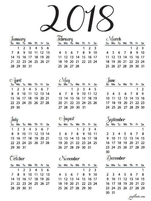 Print 2018 No Frills Full Year Calendar Duplex or single Month at