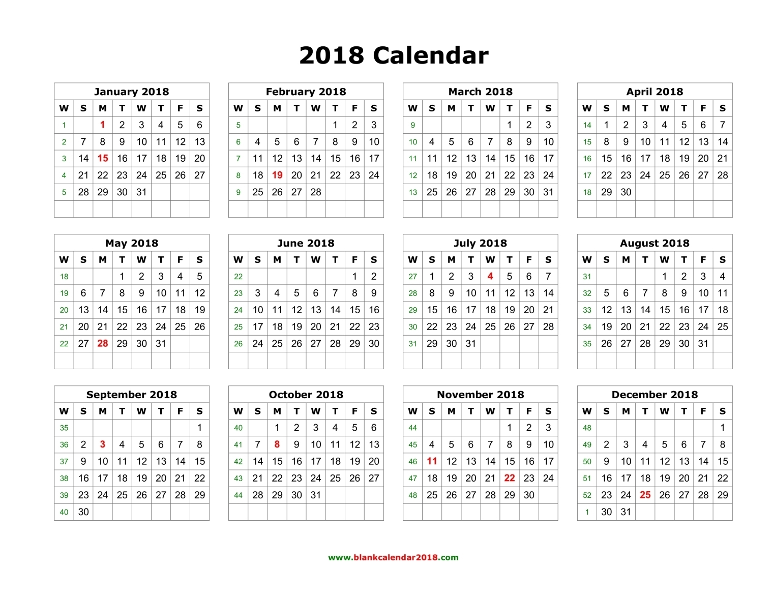 2018 full year calendar Madrat.co
