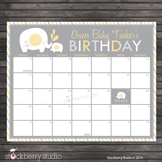 Baby Due Date Calendar Baby Shower Pink Gold Guess