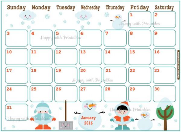 Printable Calendars for 2016 Super Cute Kawaii!!