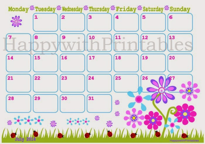 HappywithPrintables: July 2014 calendar DIY Printable cute