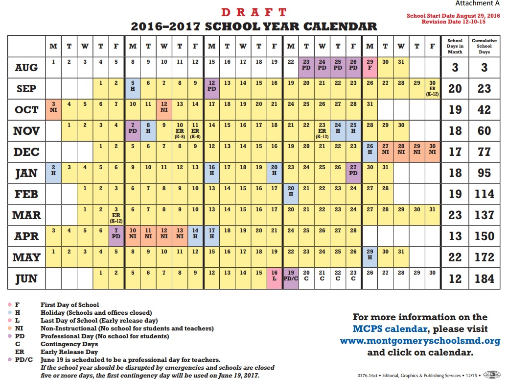 2015 2016 School Calendar | Howard County Public Schools