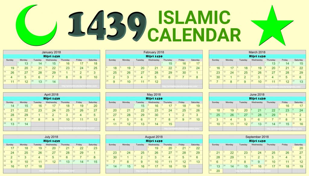 Islamic Calendar 2018| Hijri Calendar 1439 | Free Printable Calendar