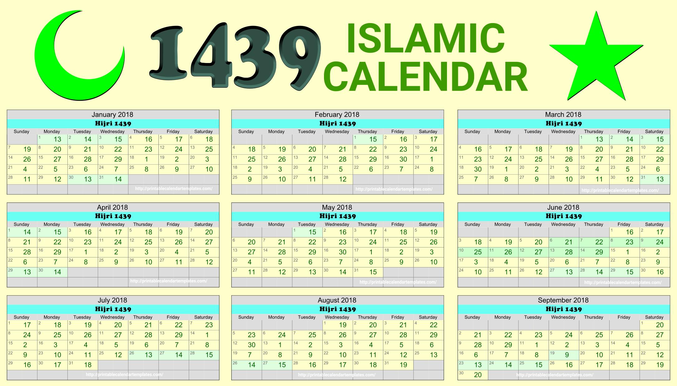 Islamic calendar 2018 | Hijri Calendar 1439 | Free Printable