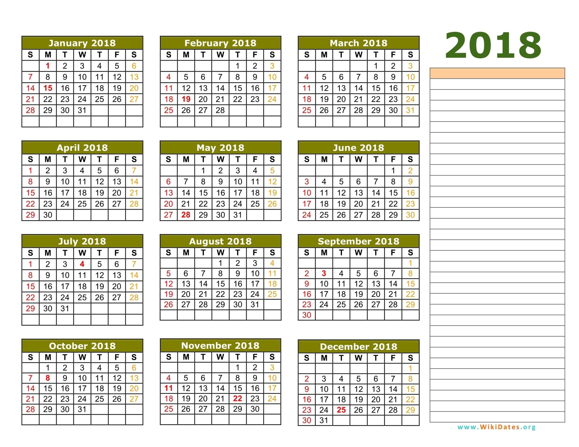 wall calendar 2018 template Madrat.co