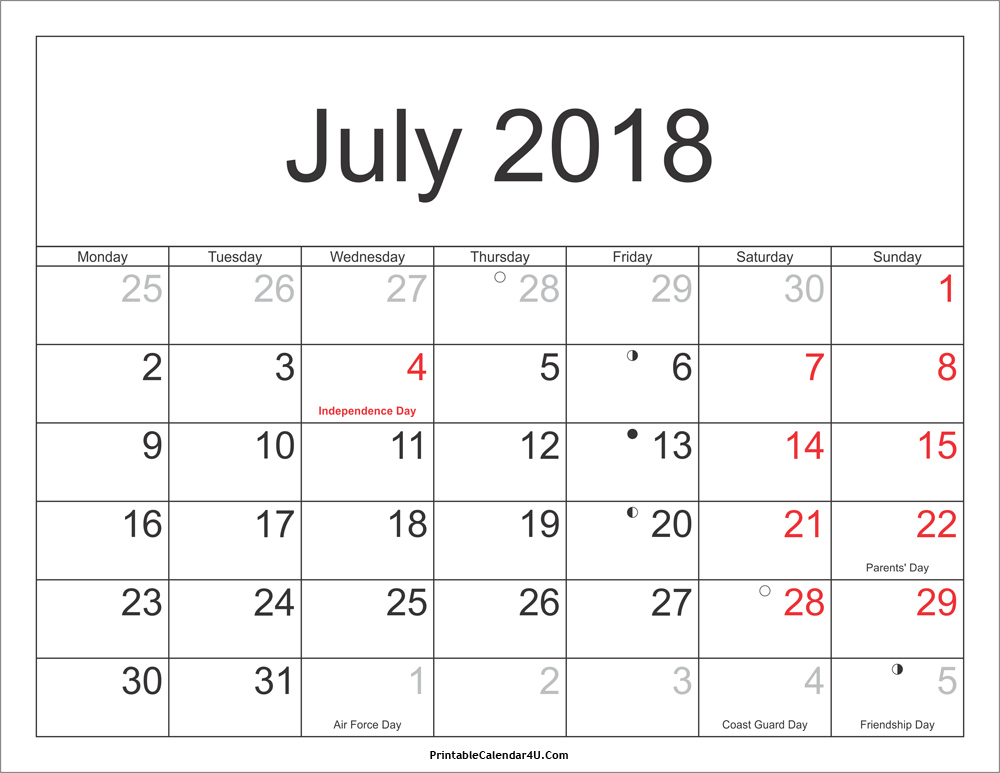 July 2018 Calendar Printable with Holidays PDF and