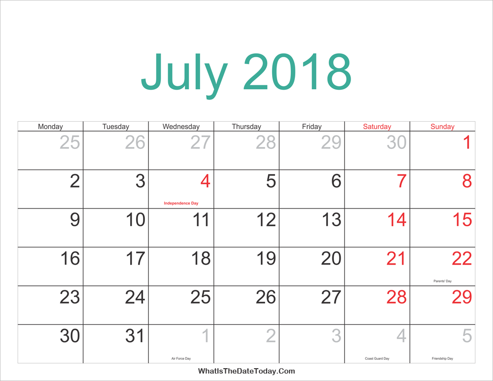 July 2018 Calendar Printable with Holidays | Whatisthedatetoday.Com