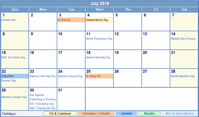 july 2018 calendar with holidays Twenty.hueandi.co