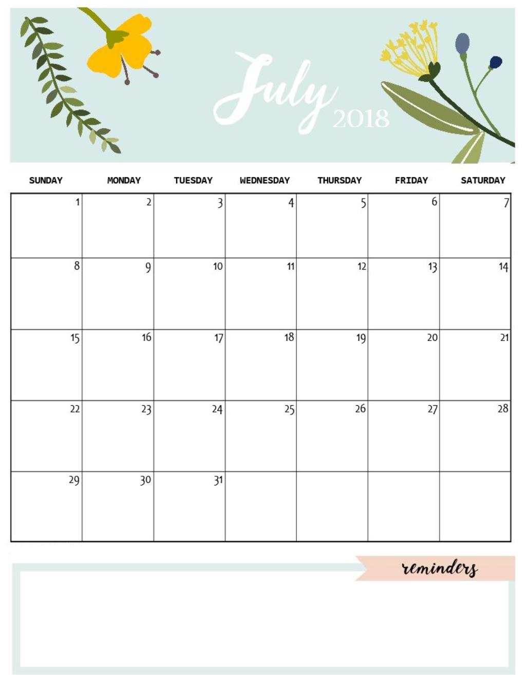 Cute and Crafty Monthly Calendar 2018 | Calendar 2018
