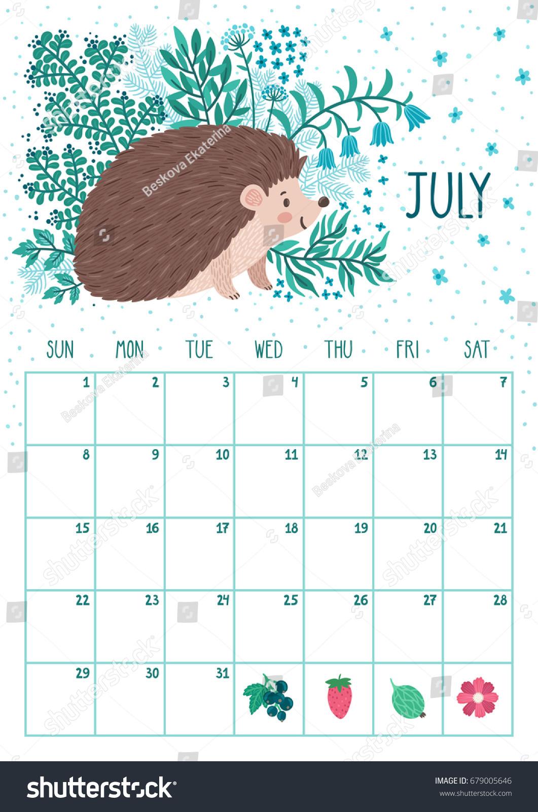 Vector Monthly Calendar Cute Hedgehog July Stock Vector 679005646