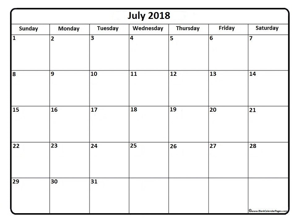 July 2018 Calendar Template | printable weekly calendar