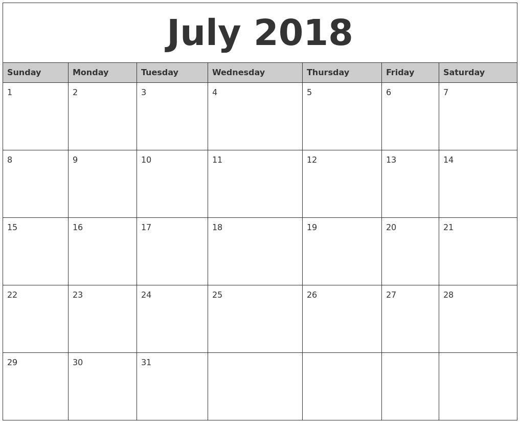 2018 Monthly Calendar Printable