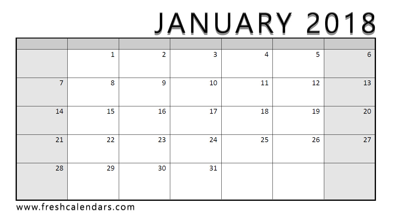 Blank Calendar 2018 Template – Free Printable Blank Monthly Calendars