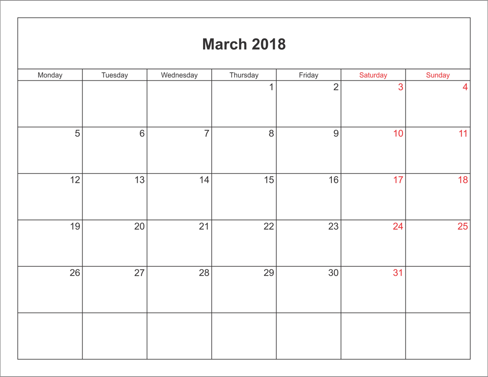 spring 2018 calendar template Madrat.co