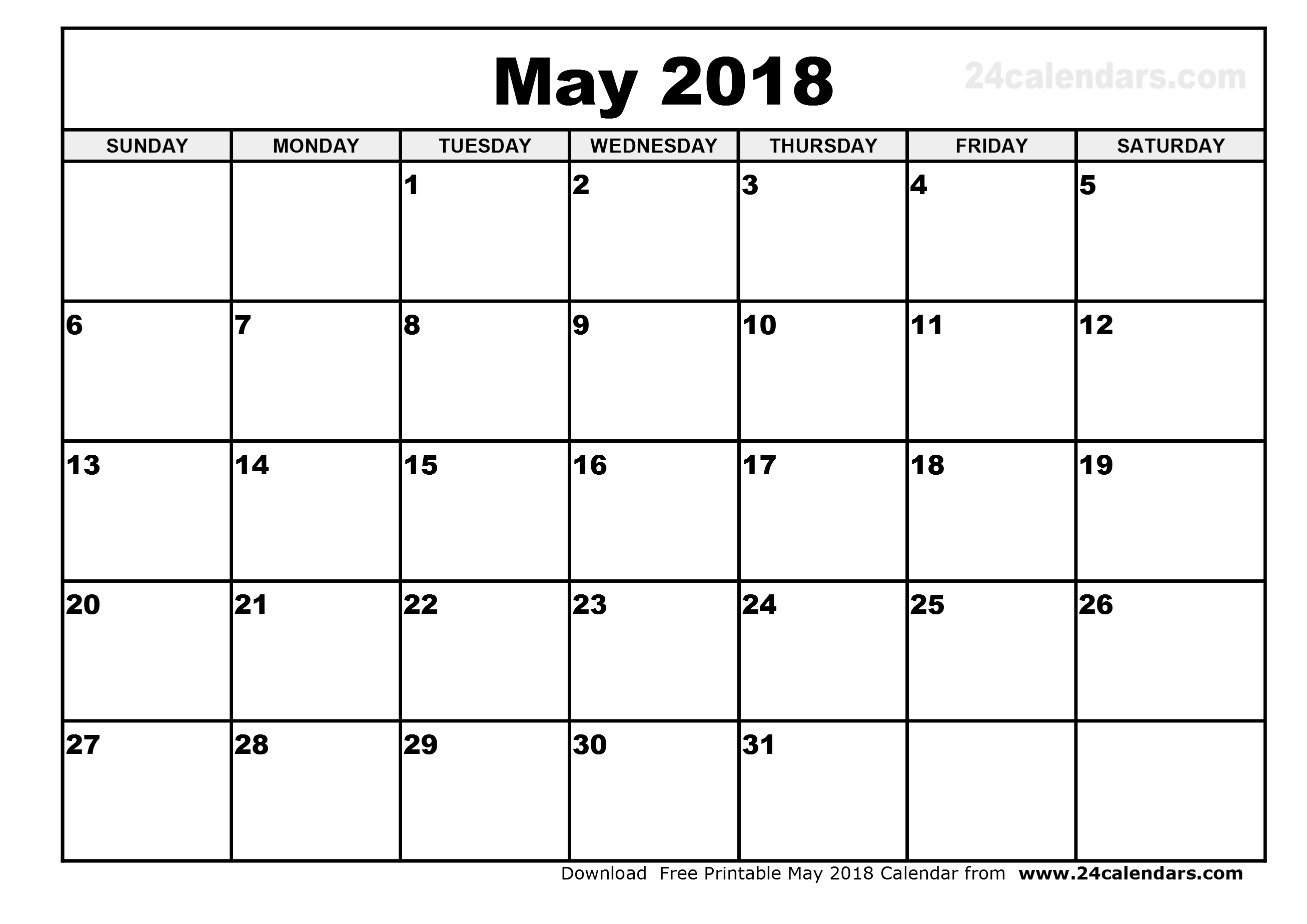 free printable calendar may 2018 Twenty.hueandi.co