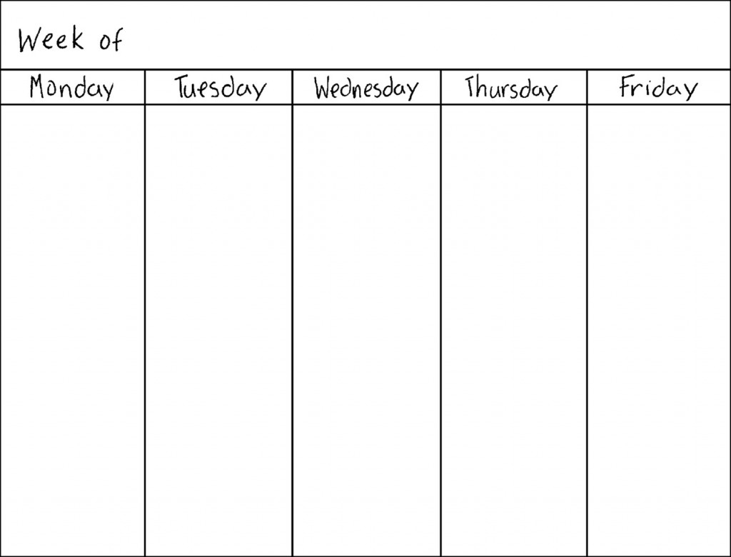 blank calendar monday through friday Twenty.hueandi.co