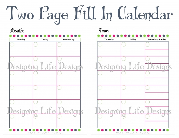 Monthly Calendars To Print And Fill Out * Calendar Printable Template