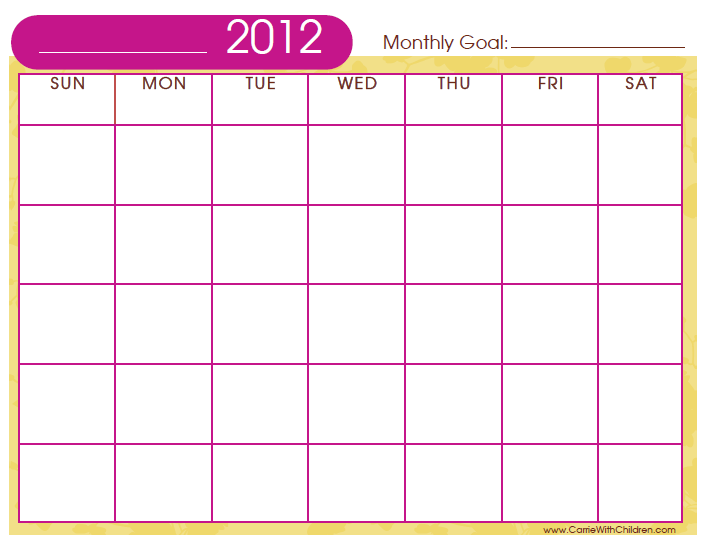 Calendar Monthly Print Out : Monthly calendar to print and fill out template