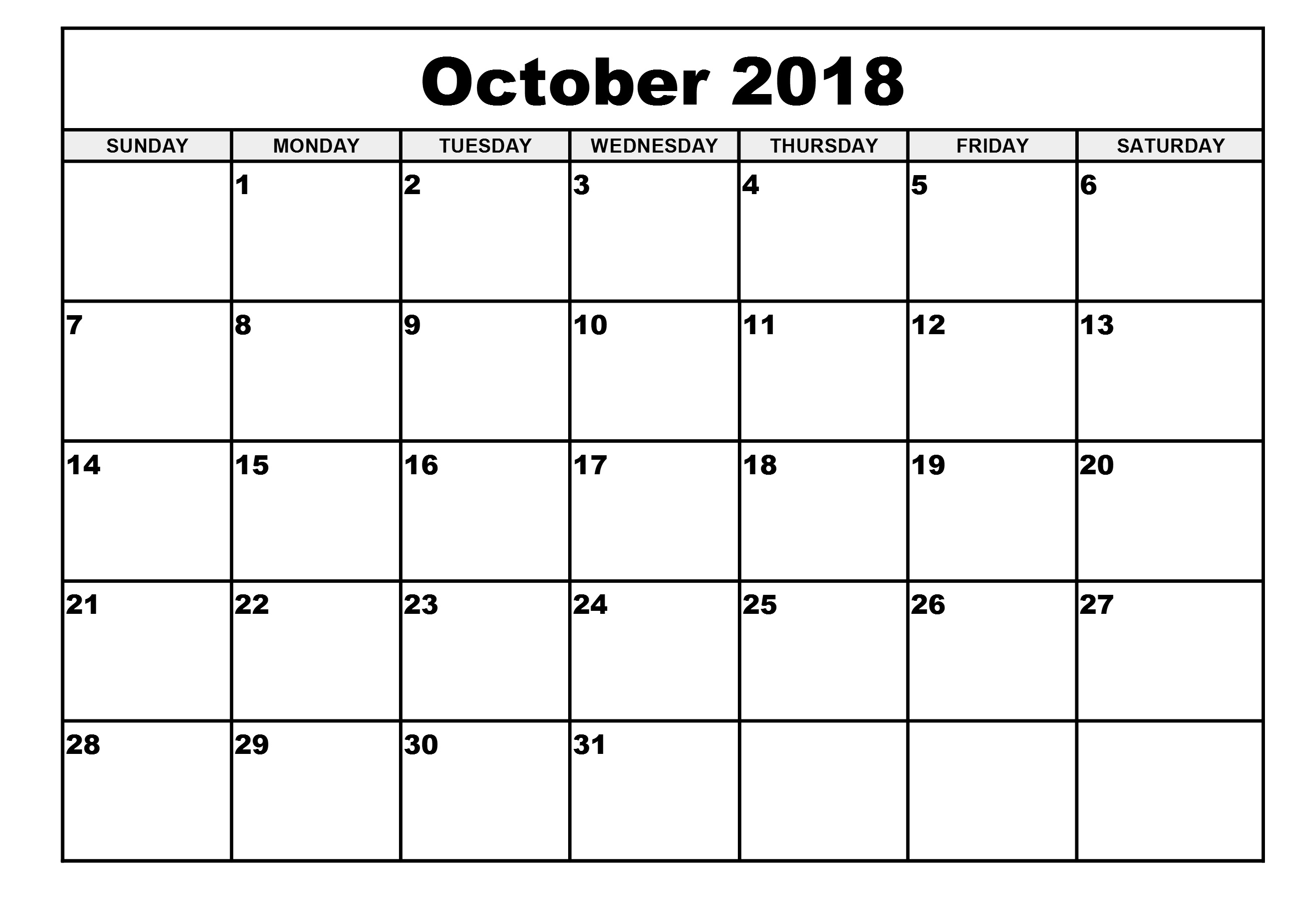 blank calendar october 2018 Twenty.hueandi.co