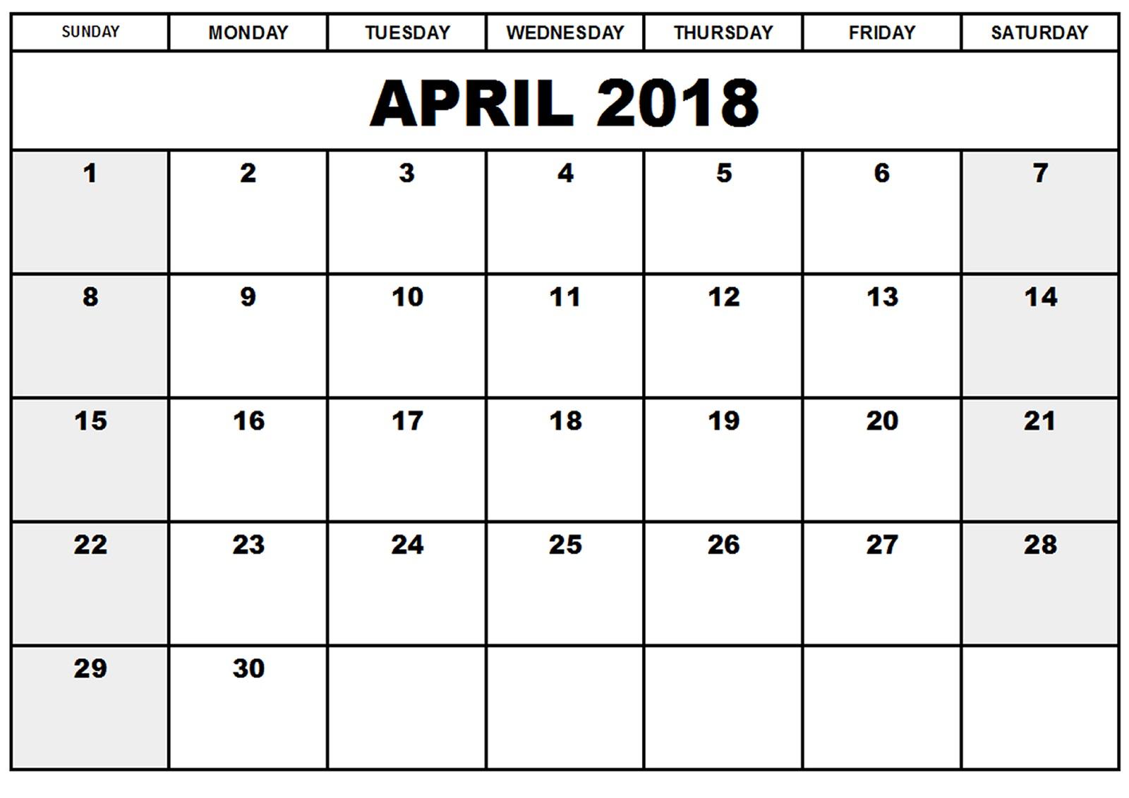 blank printable 2018 calendar Madrat.co
