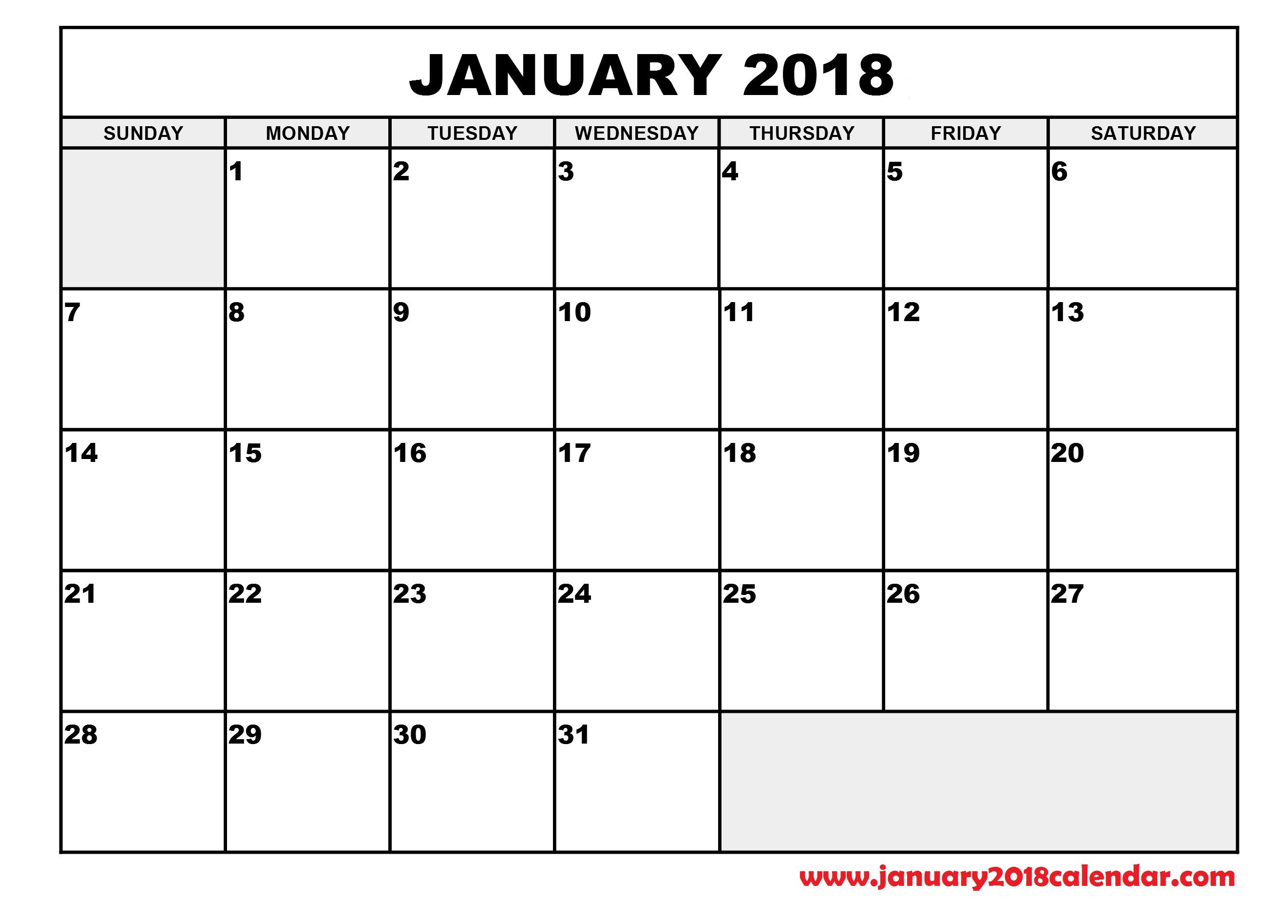 Blank Printable Calendar 2018 | Activity Shelter
