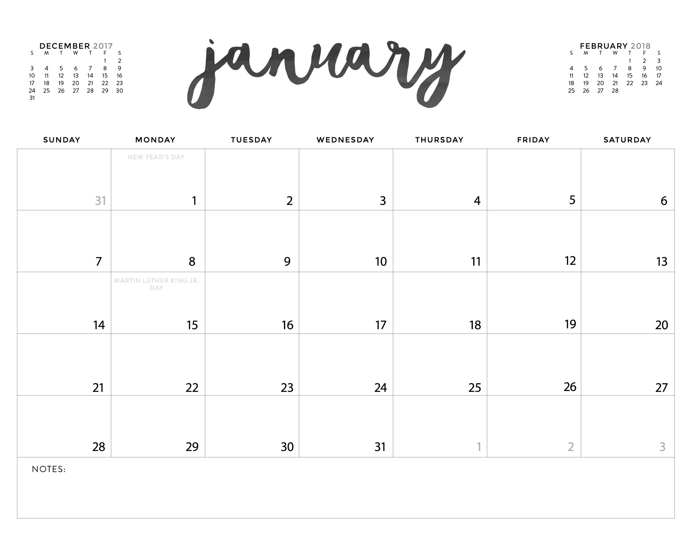 Free Printable 2018 Calendar: Pretty and Colorful! | Free