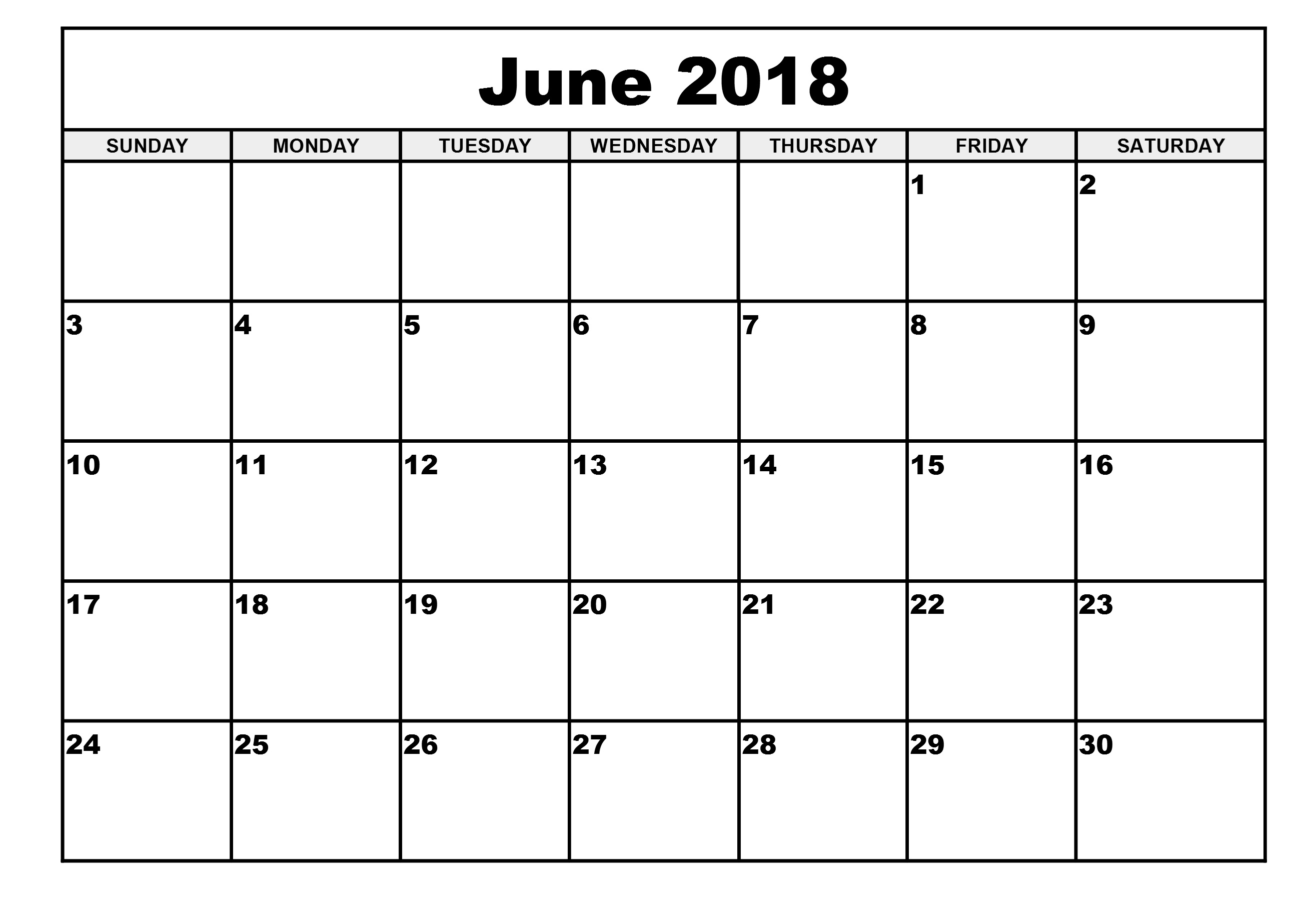 blank calender june 2018 Madrat.co