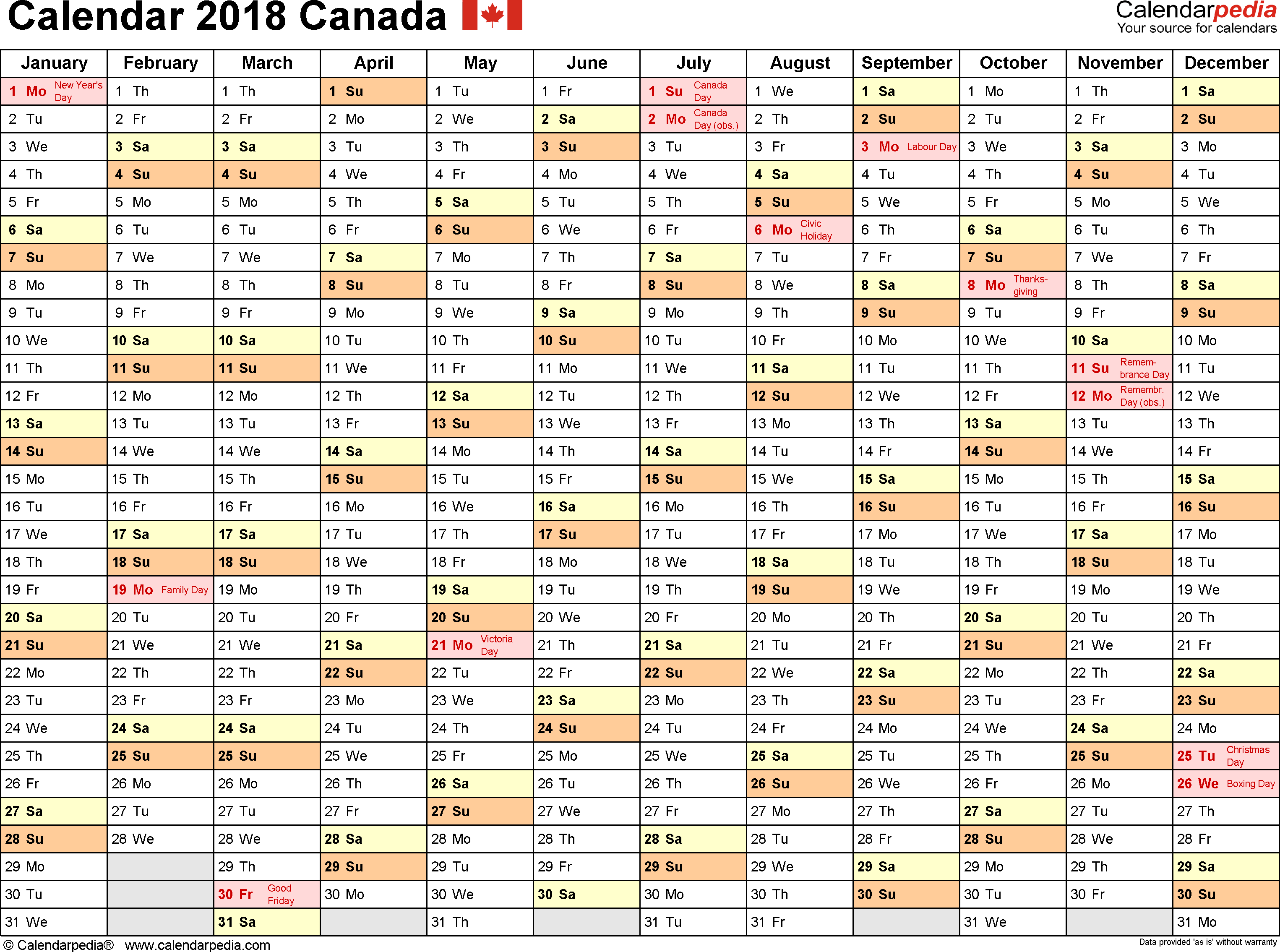 Printable Canadian Employee Vacation Planner Calendar 2018