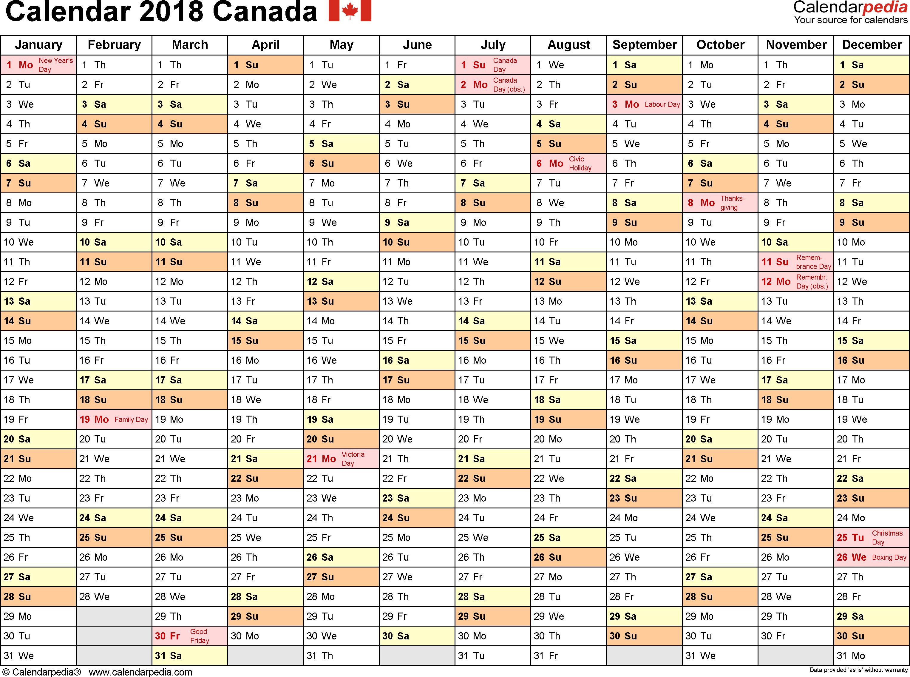 Canada Calendar 2018 free printable PDF templates