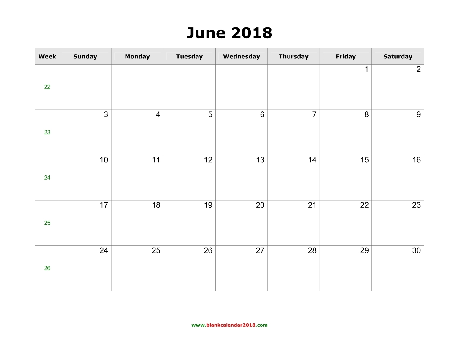 Download Calendar for June 2018 | Printable Calendar Templates