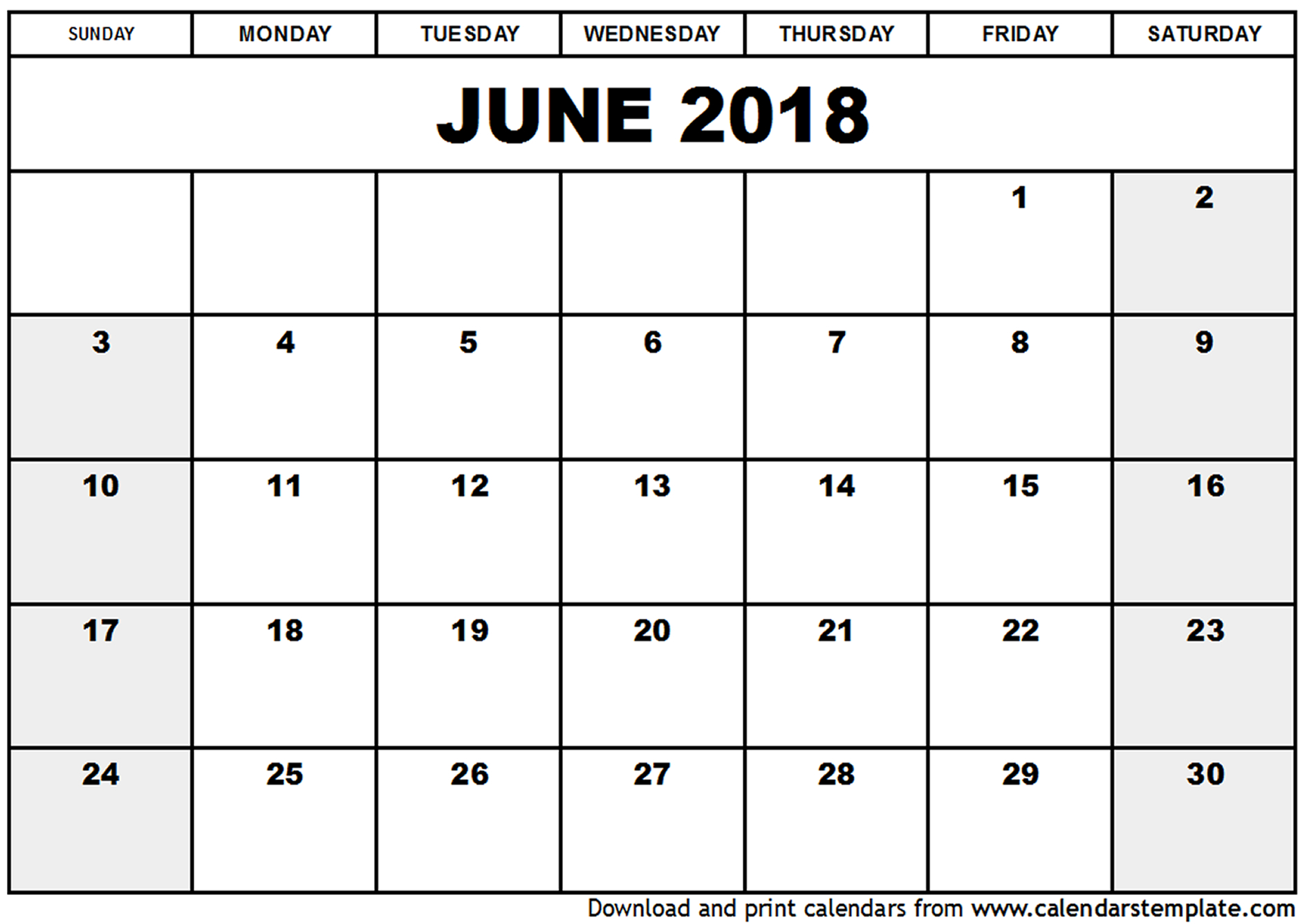 june 2018 blank printable calendar Twenty.hueandi.co