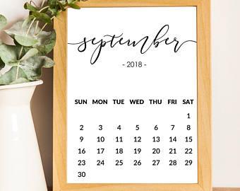 September calendar | Etsy