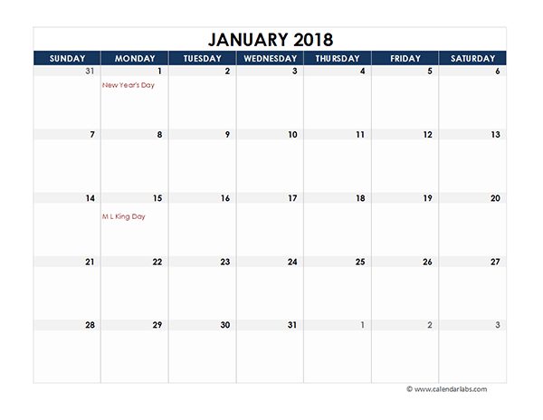 2018 Excel Calendar for Vacation Tracking Free Printable Templates