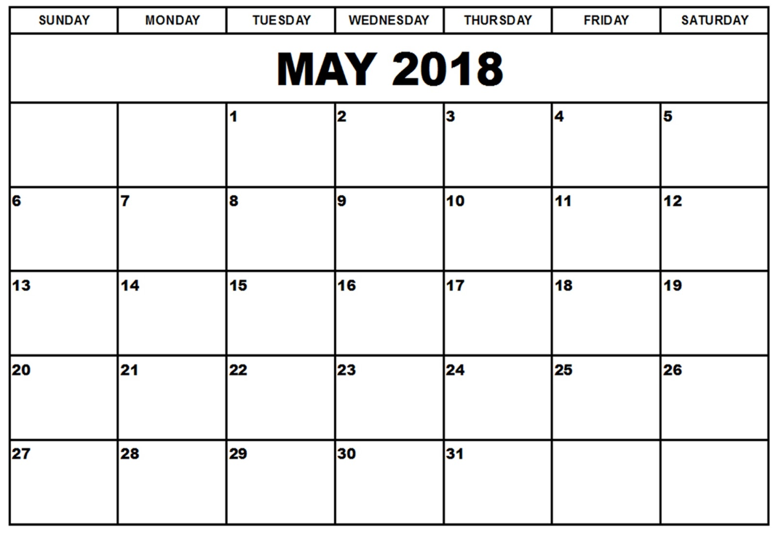 Calendar May 2018 UK, Bank Holidays, Excel/PDF/Word Templates