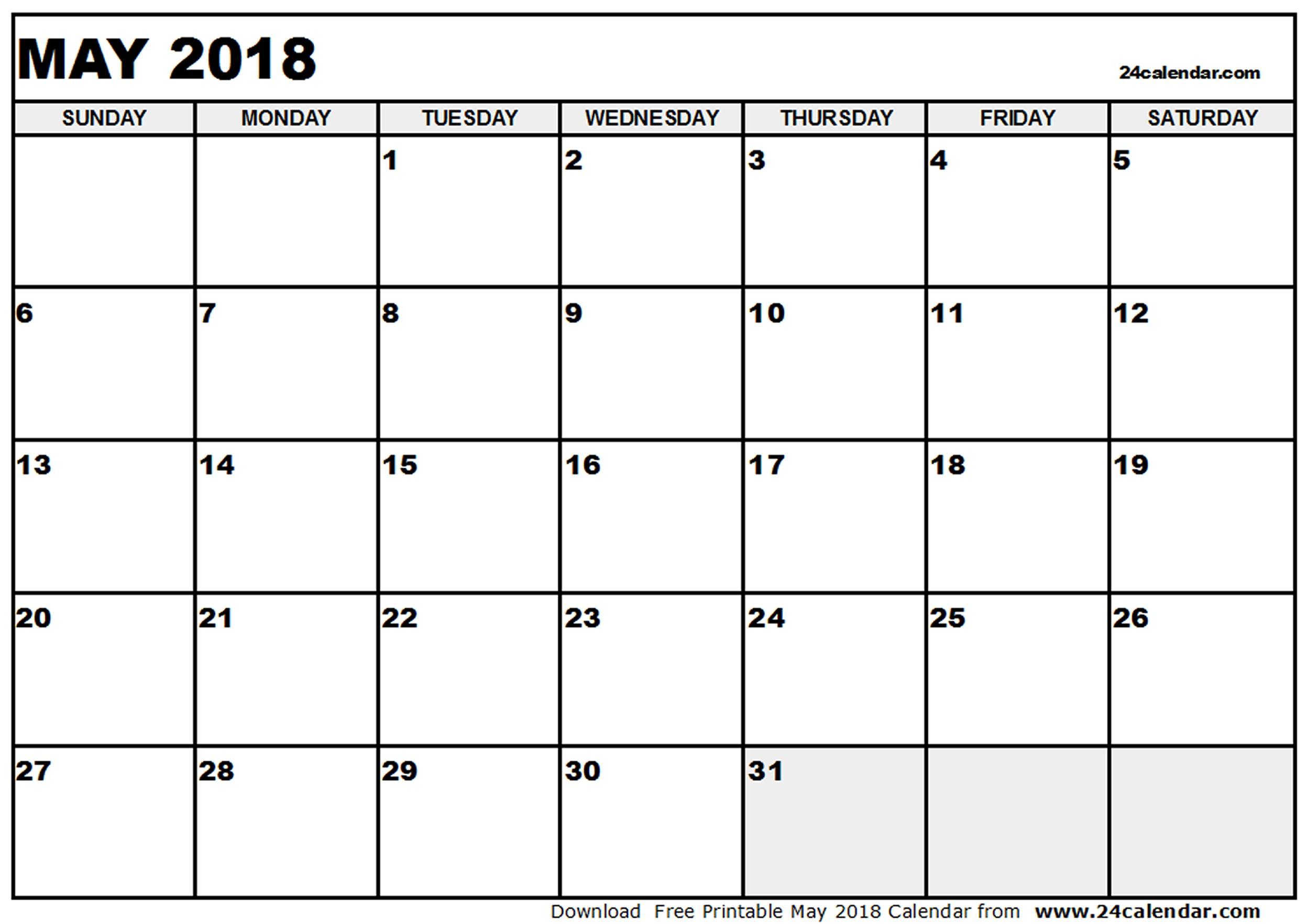 May 2018 Calendar Template | calendar monthly printable