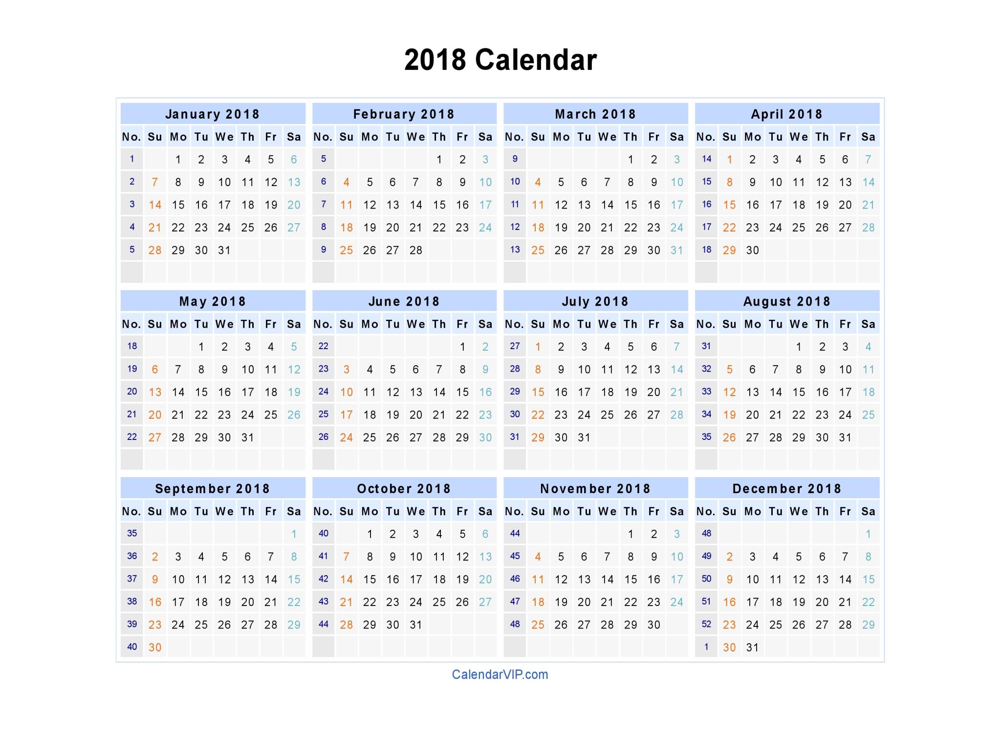 week numbers calendar 2018 Madrat.co