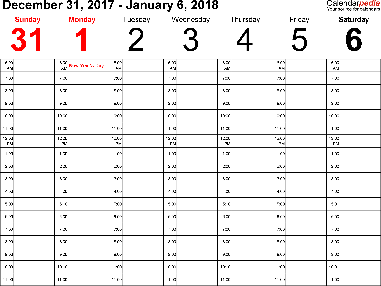 week calendar 2018 Twenty.hueandi.co