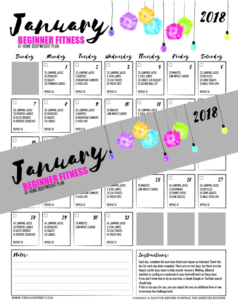 Workout Calendar April 2018 : Workout calendars printable calendar template