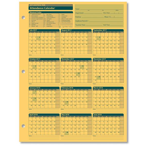 Employee Attendance Calendar for the 2017 2018 Fiscal Year