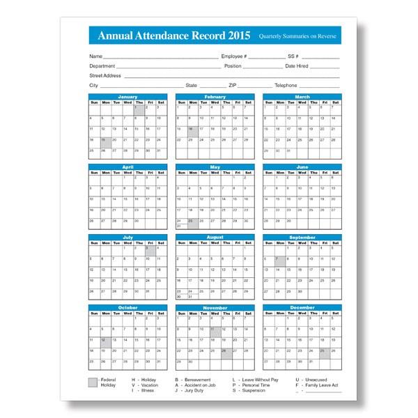 2018 attendance calendar free Madrat.co